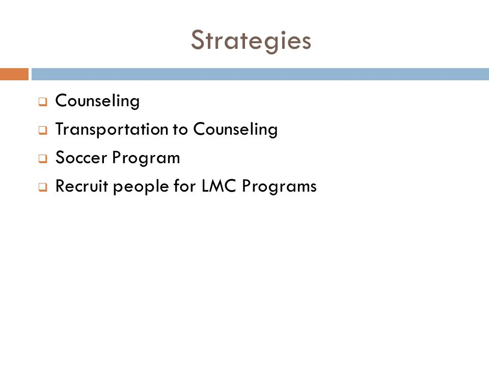 Strategies  Counseling  Transportation to Counseling  Soccer Program  Recruit people for LMC Programs