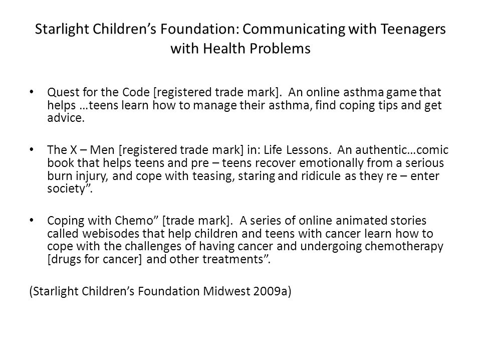 Starlight Children's Foundation: Communicating with Teenagers with Health Problems Quest for the Code [registered trade mark]. An online asthma game t