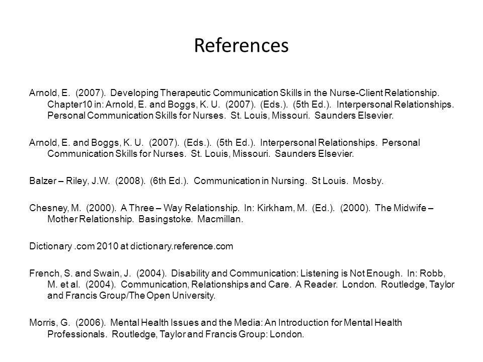 References Arnold, E.(2007).