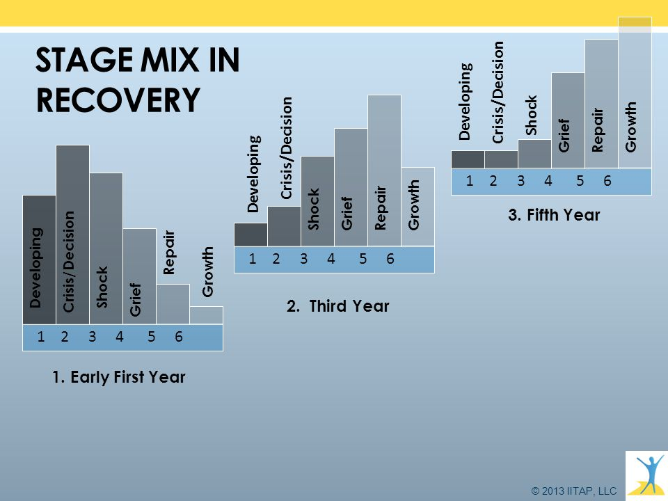 © 2013 IITAP, LLC STAGE MIX IN RECOVERY 1 2 3 4 5 6 Crisis/Decision ShockGrief Developing 1 2 3 4 5 6 Shock Grief 1 2 3 4 5 6 Grief Repair Growth Deve