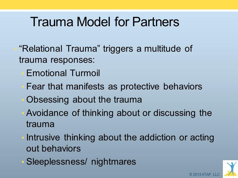 "© 2013 IITAP, LLC Trauma Model for Partners ""Relational Trauma"" triggers a multitude of trauma responses: Emotional Turmoil Fear that manifests as pro"