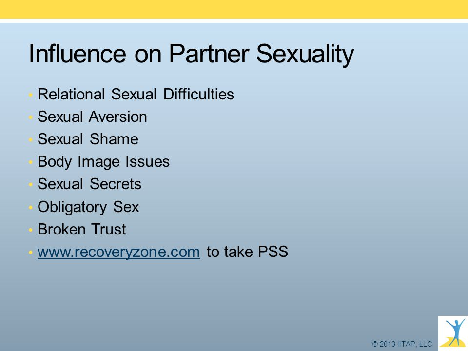 © 2013 IITAP, LLC Influence on Partner Sexuality Relational Sexual Difficulties Sexual Aversion Sexual Shame Body Image Issues Sexual Secrets Obligato