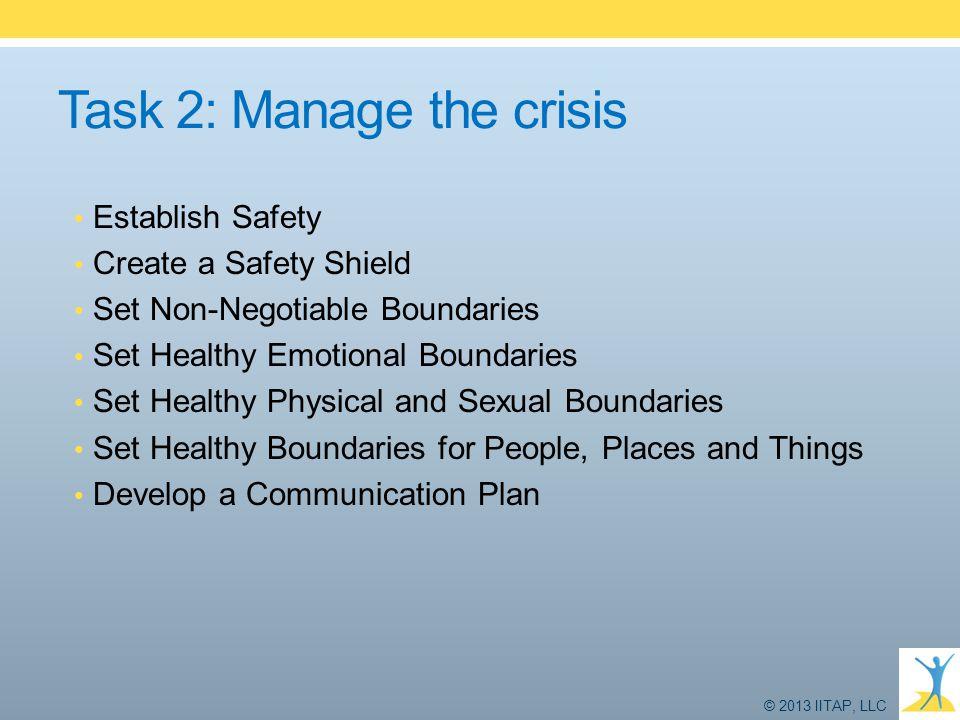 Task 2: Manage the crisis Establish Safety Create a Safety Shield Set Non-Negotiable Boundaries Set Healthy Emotional Boundaries Set Healthy Physical