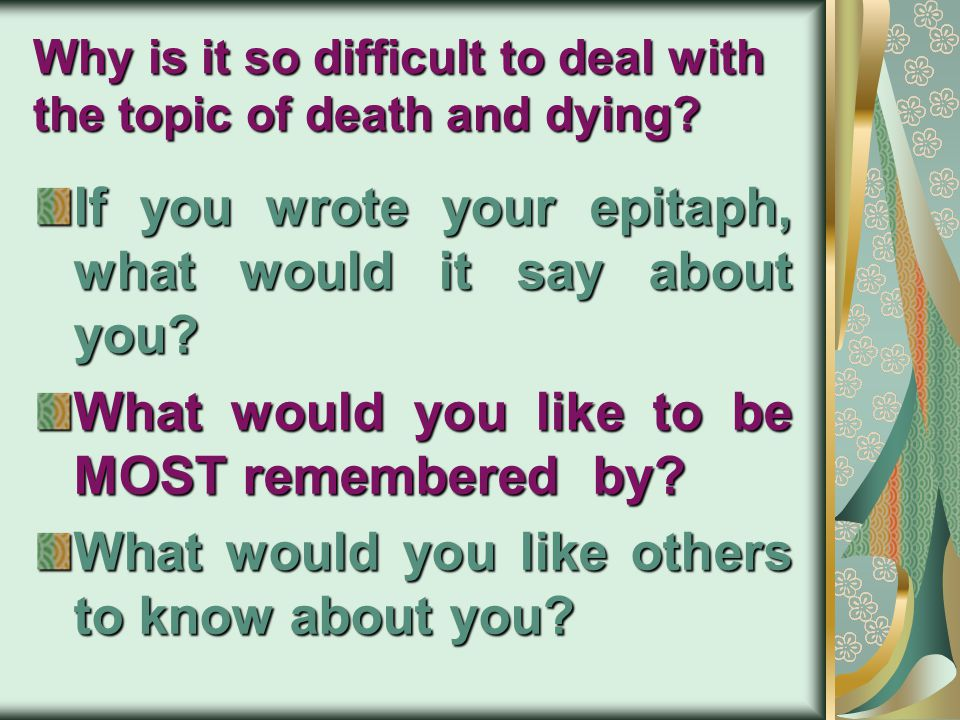 DEVELOPMENTAL PSYCHOLOGY Lucy Capuano Brewer, Psychology Psych 05 – Chapter 19 The End of life Death and Dying