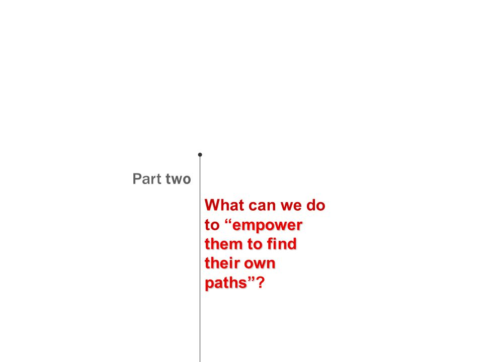 Part two empower them to find their own paths What can we do to empower them to find their own paths