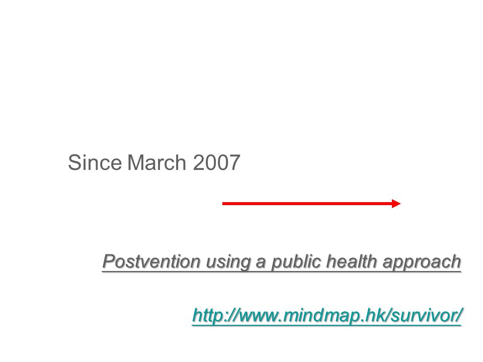 Since March 2007 Postvention using a public health approach http://www.mindmap.hk/survivor/