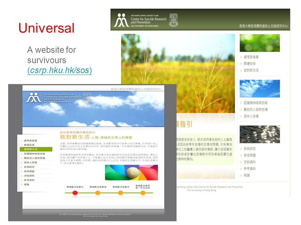 Universal A website for survivours (csrp.hku.hk/sos) (csrp.hku.hk/sos)