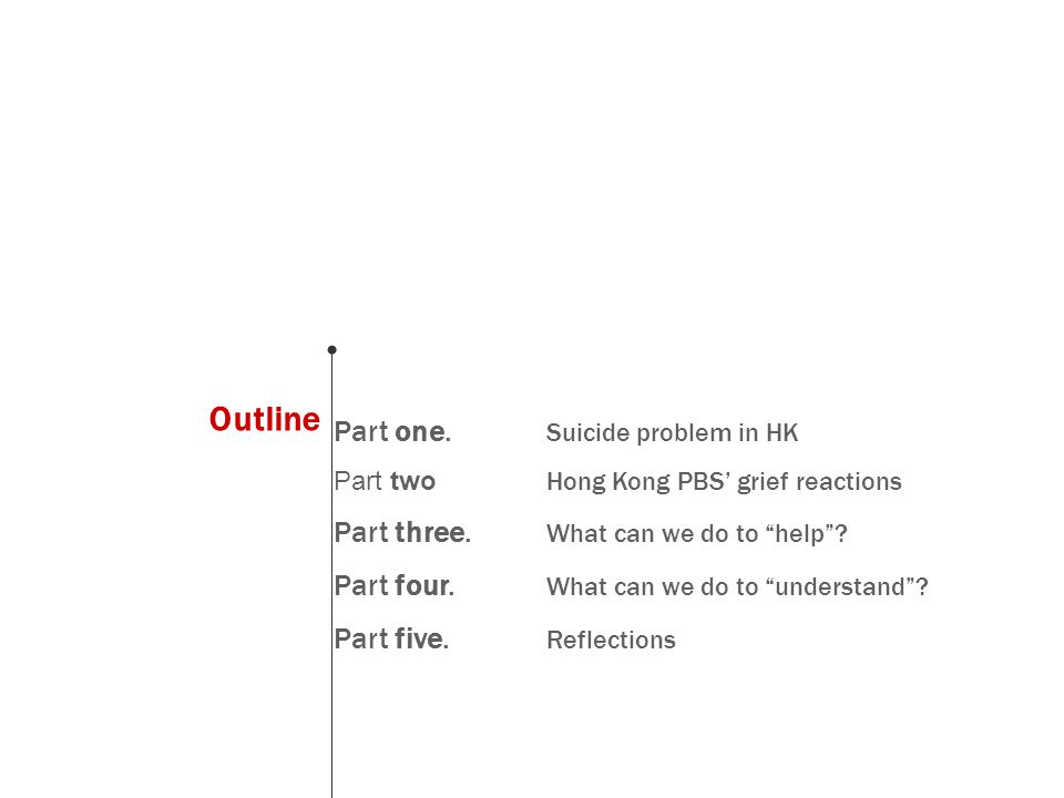 Outline Part one. Suicide problem in HK Part two Hong Kong PBS' grief reactions Part three.