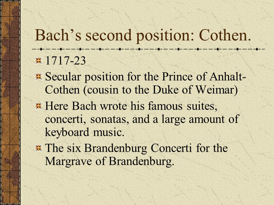 Weimar Bach, as a member of the patronage system was in fact considered the property of the Duke.