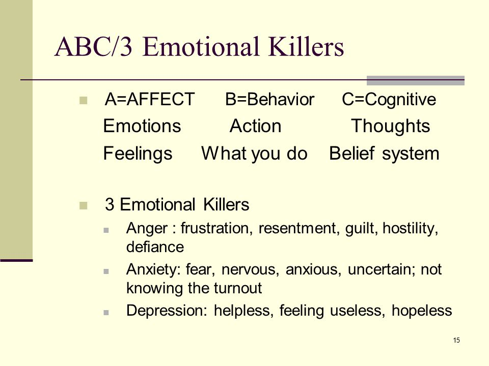 ABC/3 Emotional Killers A=AFFECT B=Behavior C=Cognitive Emotions Action Thoughts Feelings What you do Belief system 3 Emotional Killers Anger : frustration, resentment, guilt, hostility, defiance Anxiety: fear, nervous, anxious, uncertain; not knowing the turnout Depression: helpless, feeling useless, hopeless 15