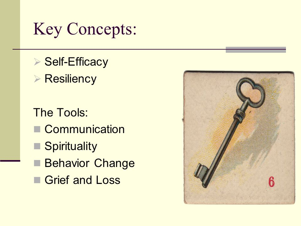 Key Concepts:  Self-Efficacy  Resiliency The Tools: Communication Spirituality Behavior Change Grief and Loss