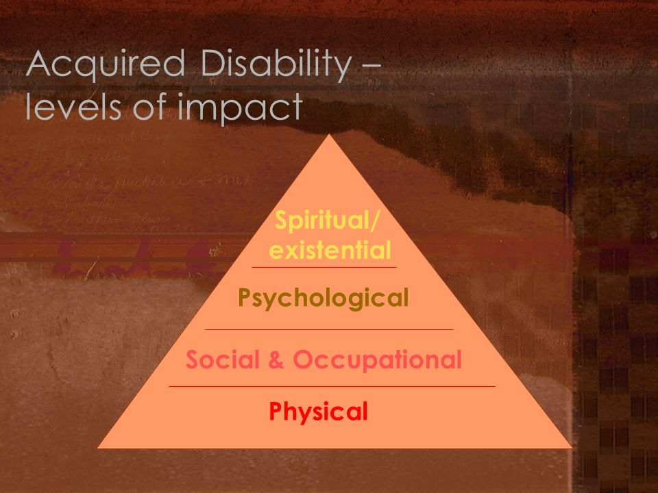 Acquired Disability – levels of impact Physical Social & Occupational Psychological Spiritual/ existential