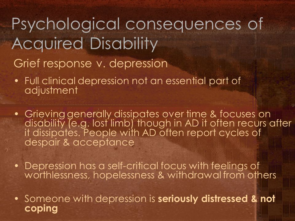 Psychological consequences of Acquired Disability Grief response v.