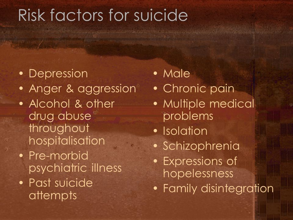 Risk factors for suicide Depression Anger & aggression Alcohol & other drug abuse throughout hospitalisation Pre-morbid psychiatric illness Past suicide attempts Male Chronic pain Multiple medical problems Isolation Schizophrenia Expressions of hopelessness Family disintegration