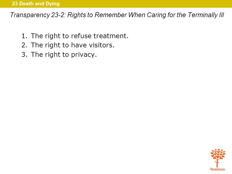 23 Death and Dying Transparency 23-2: Rights to Remember When Caring for the Terminally Ill 1.The right to refuse treatment.