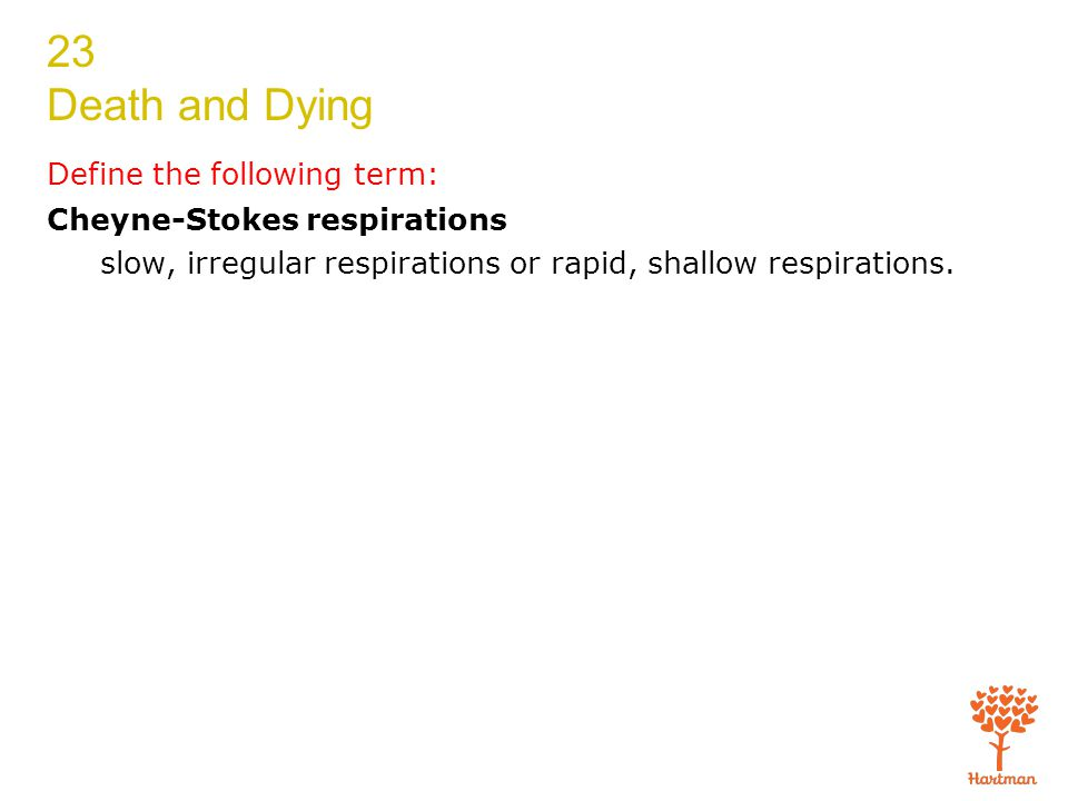 23 Death and Dying Define the following term: Cheyne-Stokes respirations slow, irregular respirations or rapid, shallow respirations.