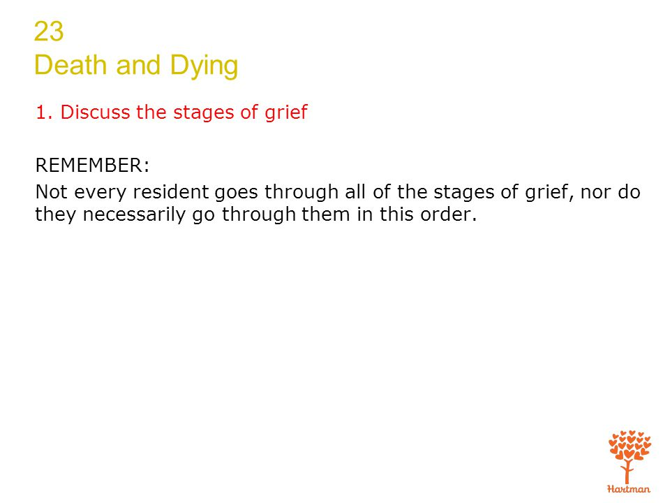 23 Death and Dying Transparency 23-1: Stages of Grief Denial: refusal to believe they are dying Anger: Why me? Bargaining: Yes me, but… Depression: need to mourn and review their lives Acceptance: preparing for death