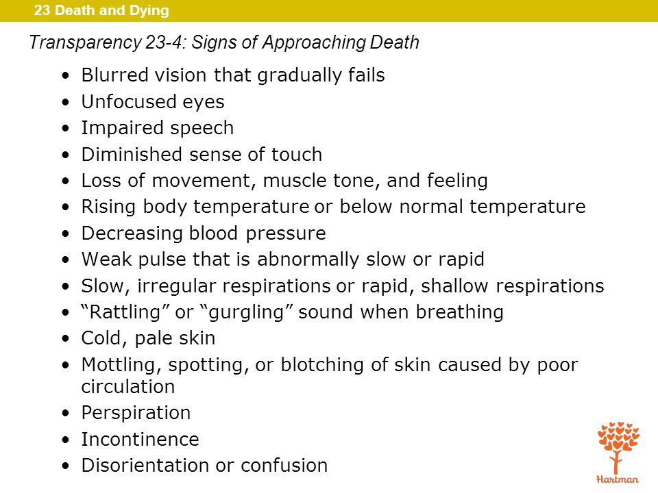 23 Death and Dying Transparency 23-4: Signs of Approaching Death Blurred vision that gradually fails Unfocused eyes Impaired speech Diminished sense of touch Loss of movement, muscle tone, and feeling Rising body temperature or below normal temperature Decreasing blood pressure Weak pulse that is abnormally slow or rapid Slow, irregular respirations or rapid, shallow respirations Rattling or gurgling sound when breathing Cold, pale skin Mottling, spotting, or blotching of skin caused by poor circulation Perspiration Incontinence Disorientation or confusion
