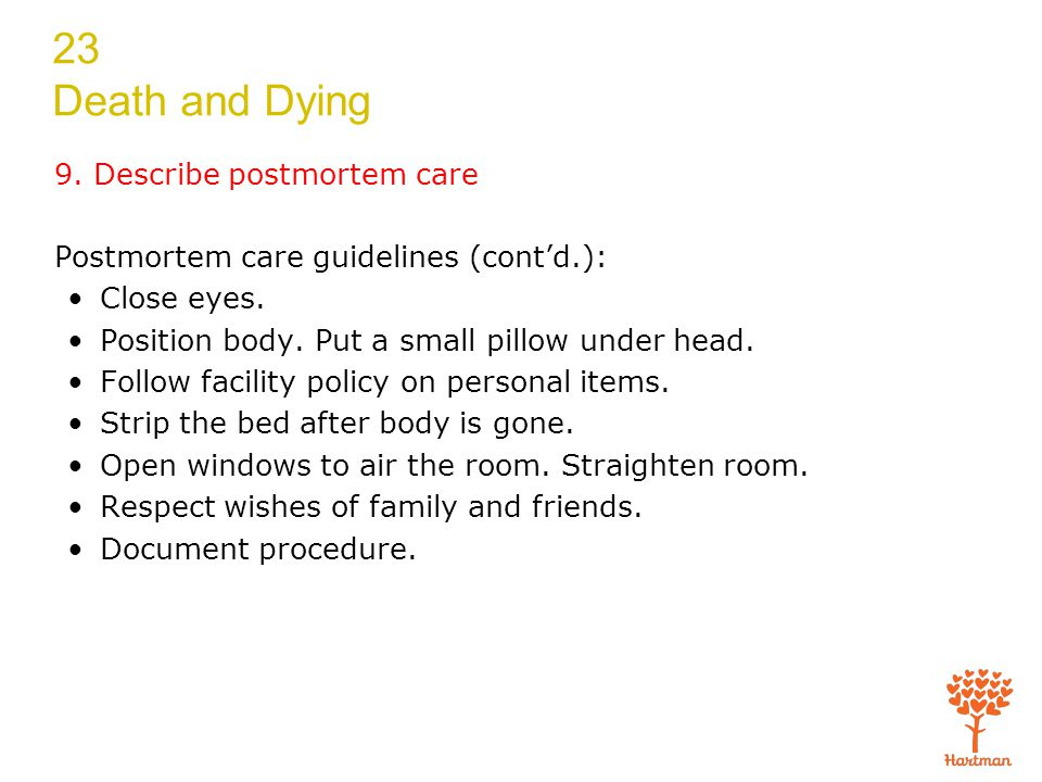 23 Death and Dying 9. Describe postmortem care Postmortem care guidelines (cont'd.): Close eyes.