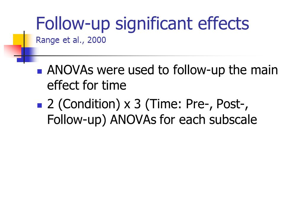 Follow-up significant effects Range et al., 2000 ANOVAs were used to follow-up the main effect for time 2 (Condition) x 3 (Time: Pre-, Post-, Follow-up) ANOVAs for each subscale