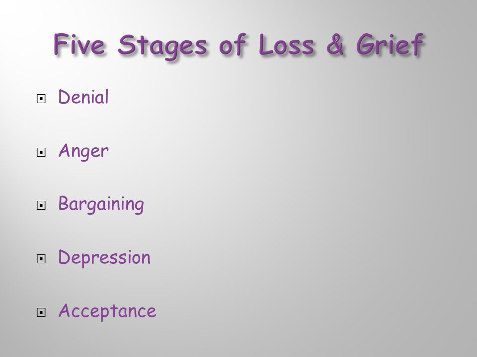  Denial  Anger  Bargaining  Depression  Acceptance
