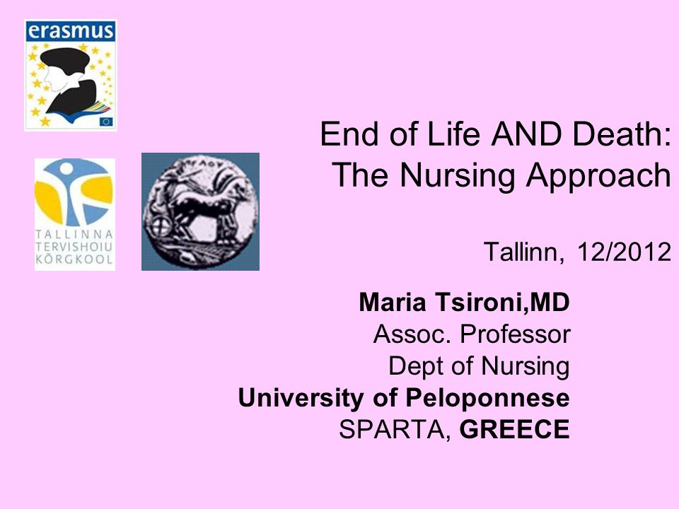 End of Life AND Death: The Nursing Approach Tallinn, 12/2012 Maria Tsironi,MD Assoc.