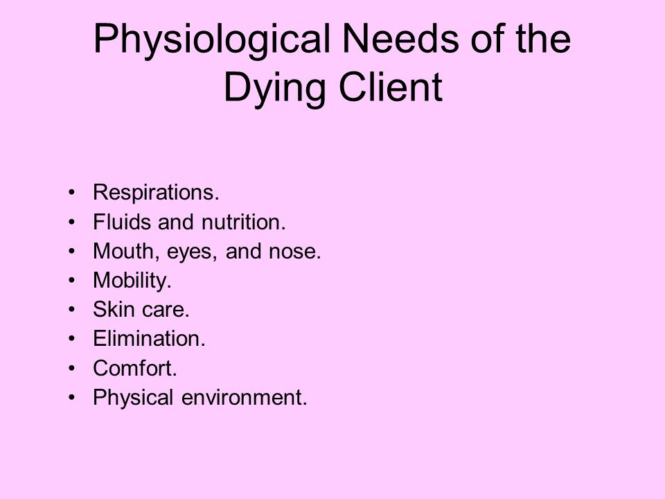 Physiological Needs of the Dying Client Respirations.
