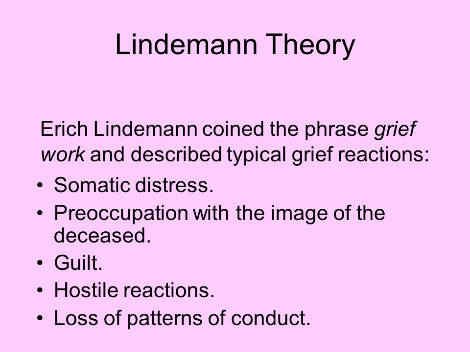 Lindemann Theory Somatic distress.Preoccupation with the image of the deceased.