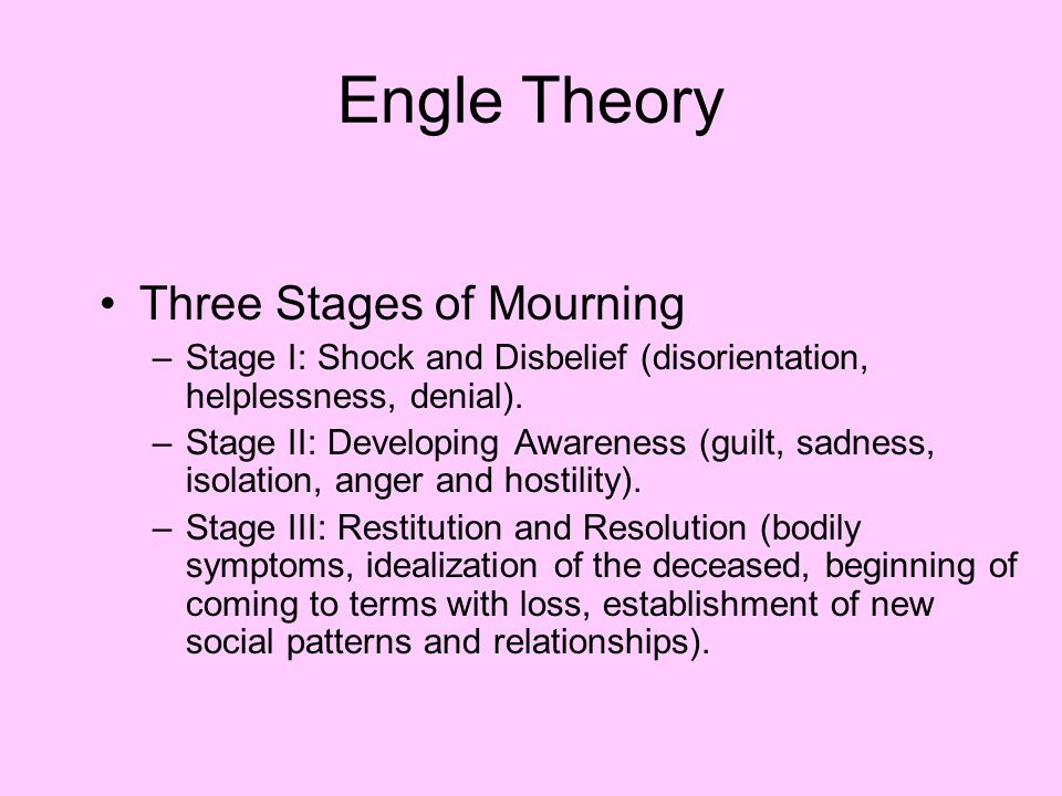 Engle Theory Three Stages of Mourning –Stage I: Shock and Disbelief (disorientation, helplessness, denial).