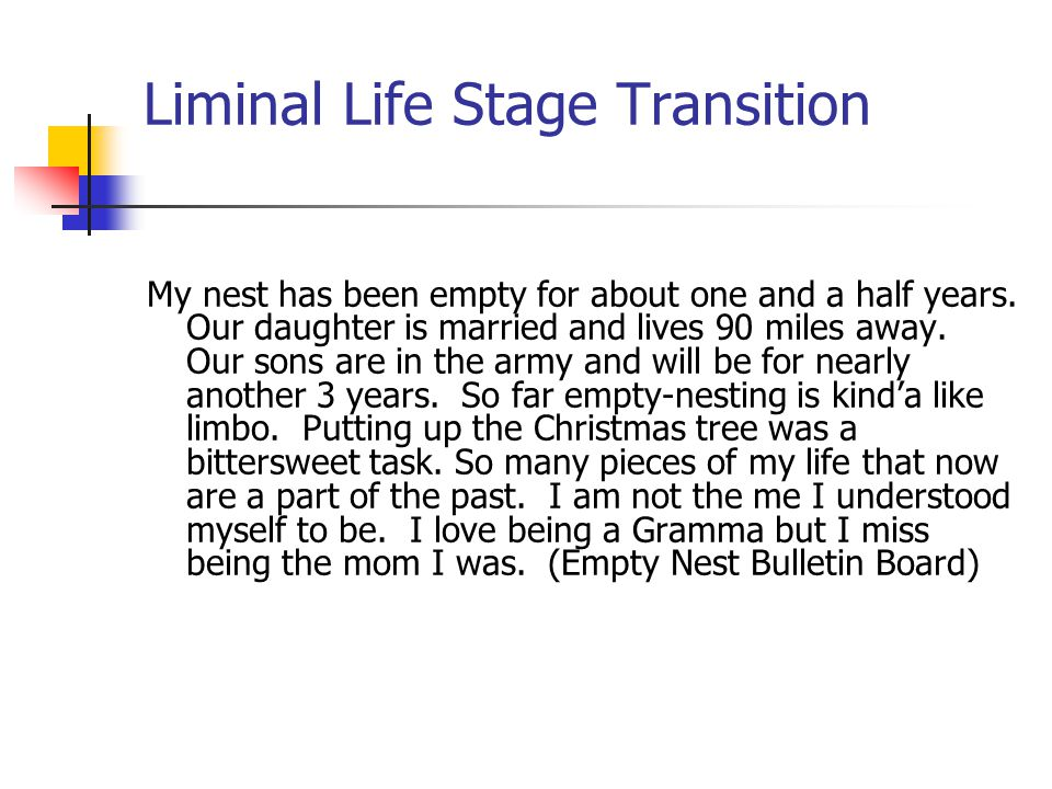 Liminal Life Stage Transition My nest has been empty for about one and a half years. Our daughter is married and lives 90 miles away. Our sons are in