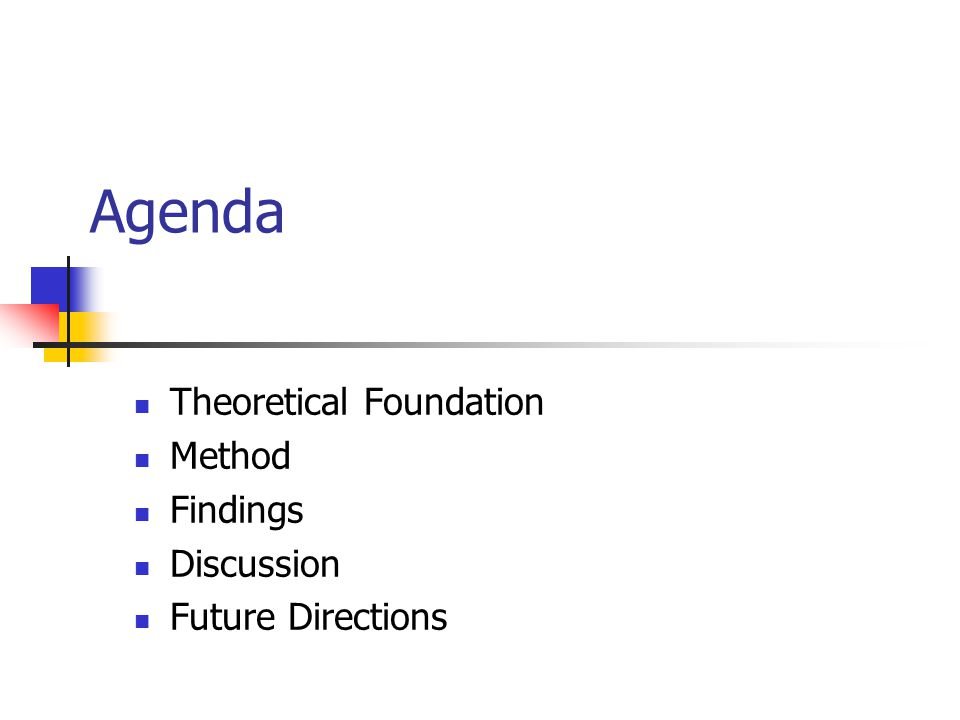 Agenda Theoretical Foundation Method Findings Discussion Future Directions