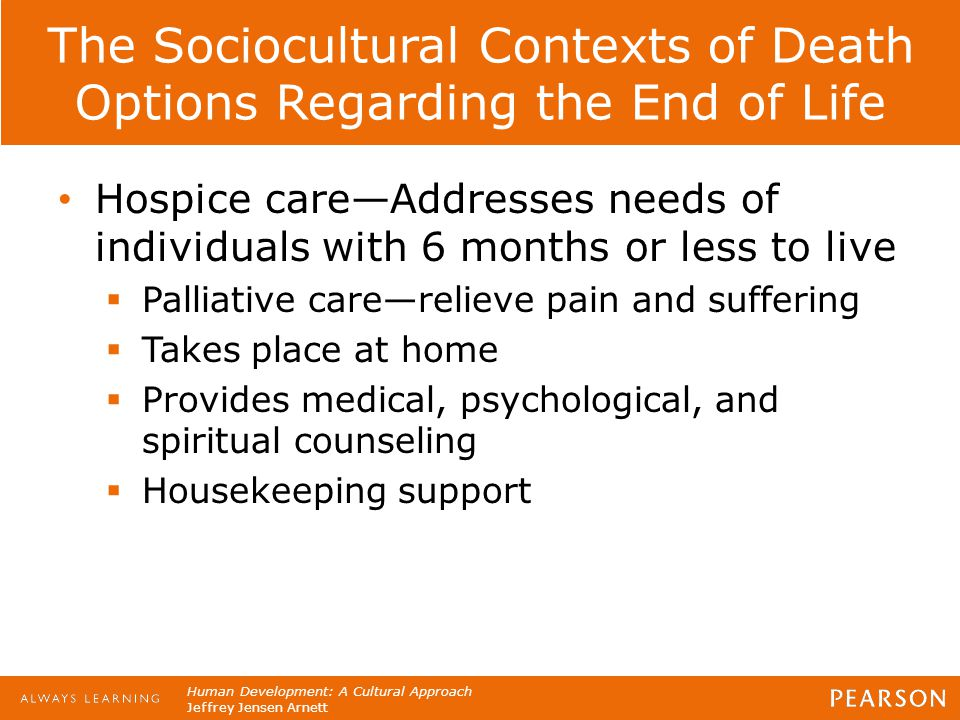 Human Development: A Cultural Approach Jeffrey Jensen Arnett The Sociocultural Contexts of Death Options Regarding the End of Life Hospice care—Addres