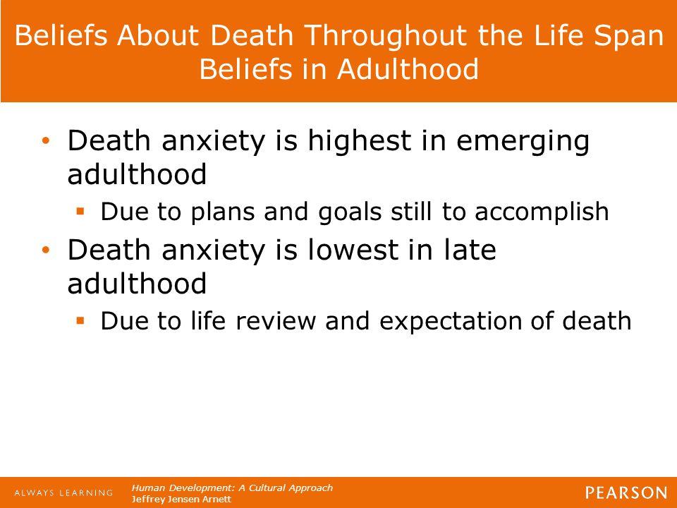 Human Development: A Cultural Approach Jeffrey Jensen Arnett Beliefs About Death Throughout the Life Span Beliefs in Adulthood Death anxiety is highes