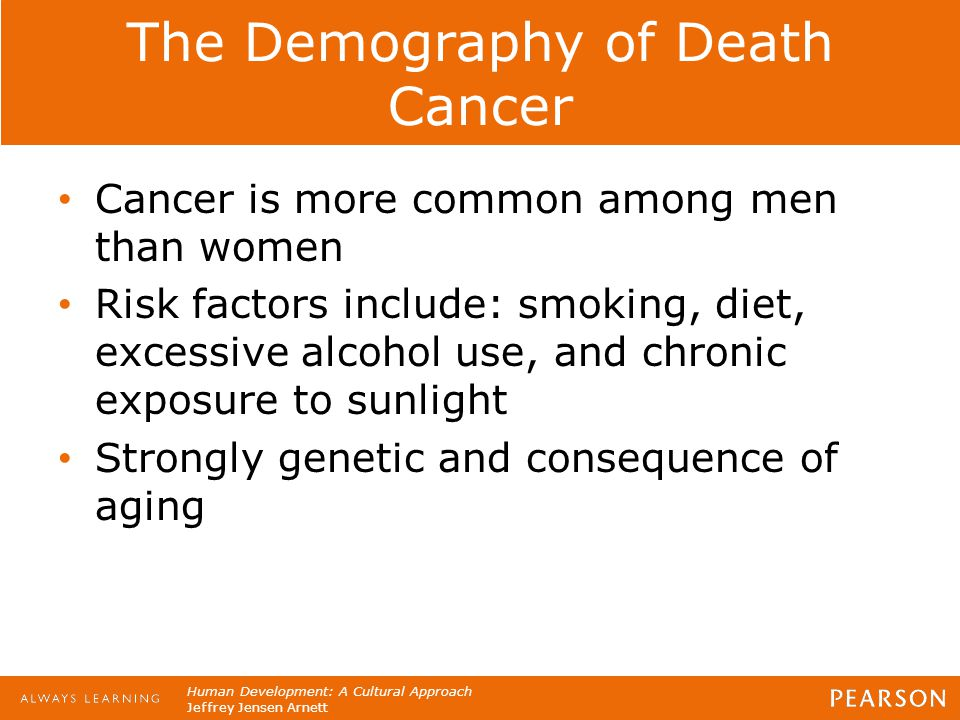 Human Development: A Cultural Approach Jeffrey Jensen Arnett The Demography of Death Cancer Cancer is more common among men than women Risk factors in