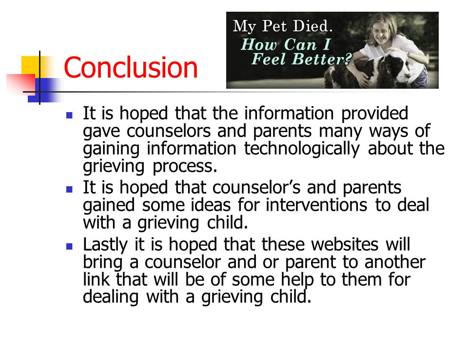 Important Information Taken from Lorrie's Links Some of the myths a child may be dealing with when it comes to grief is: Not talk about the loss so the person does not feel uncomfortable.