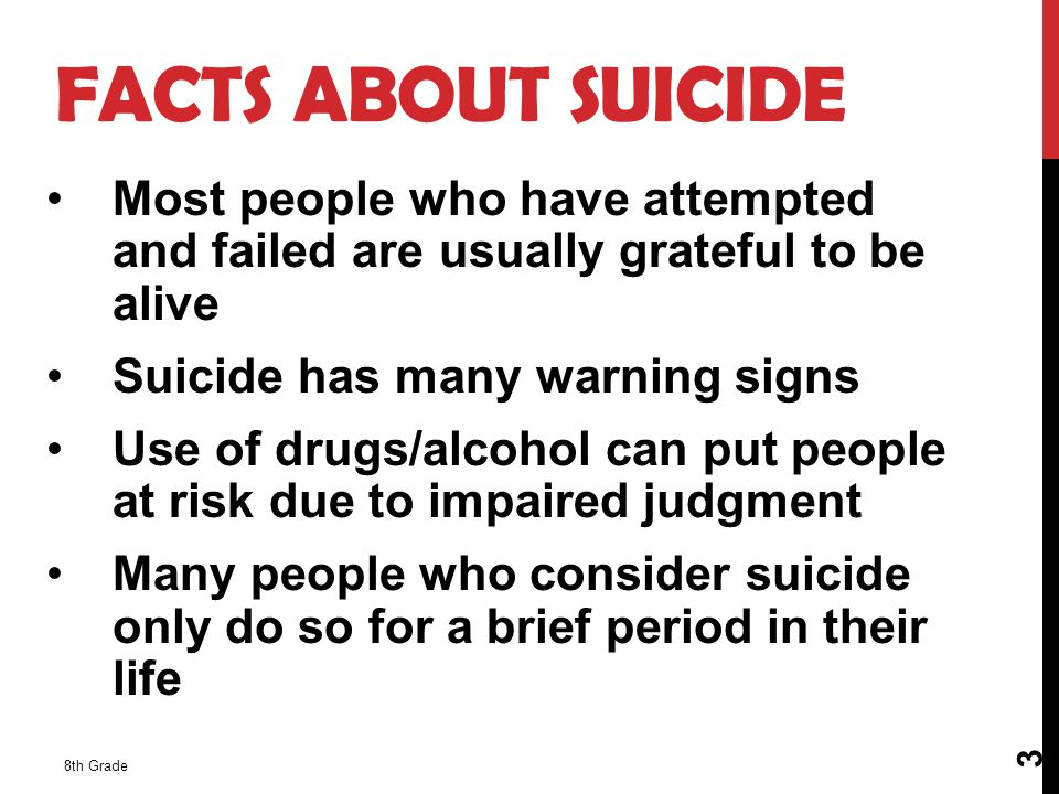 8th Grade 4 FACTS ABOUT SUICIDE CONTINUED 3 rd leading cause of death for ages 15 – 24 More women attempt suicide and more men commit suicide Click on Image