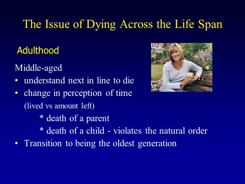 Middle-aged understand next in line to die change in perception of time (lived vs amount left) * death of a parent * death of a child - violates the n