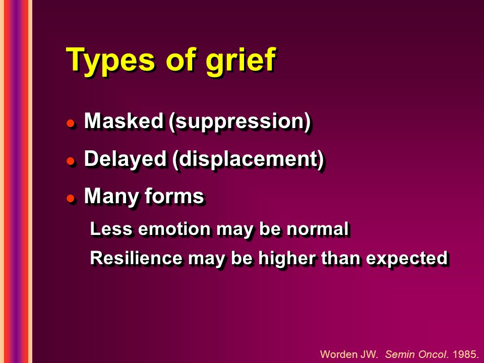 Types of grief l Masked (suppression) l Delayed (displacement) l Many forms Less emotion may be normal Resilience may be higher than expected l Masked