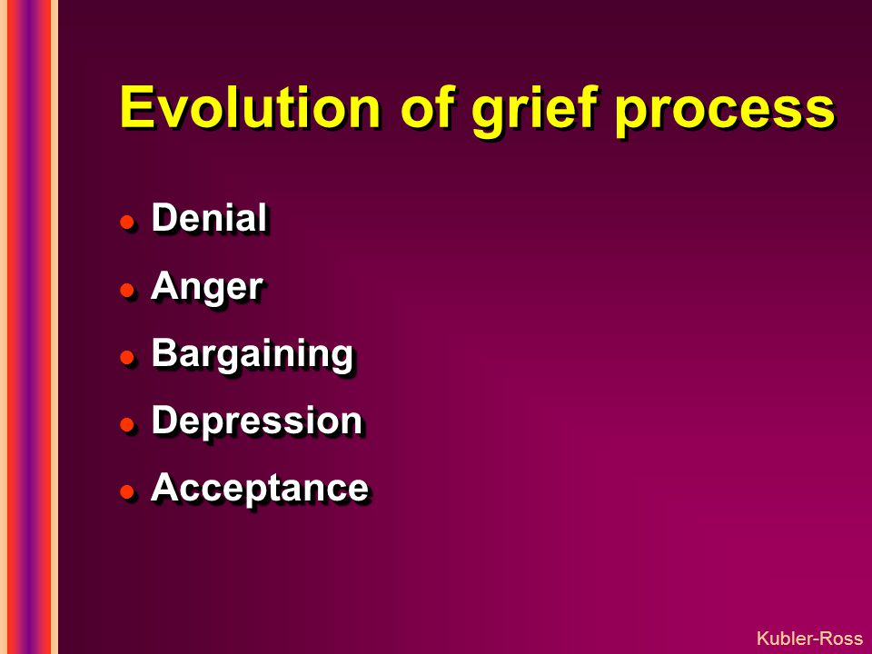 Evolution of grief process l Denial l Anger l Bargaining l Depression l Acceptance l Denial l Anger l Bargaining l Depression l Acceptance Kubler-Ross