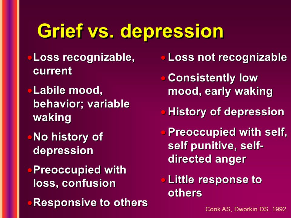 Grief vs. depression  Loss not recognizable  Consistently low mood, early waking  History of depression  Preoccupied with self, self punitive, sel
