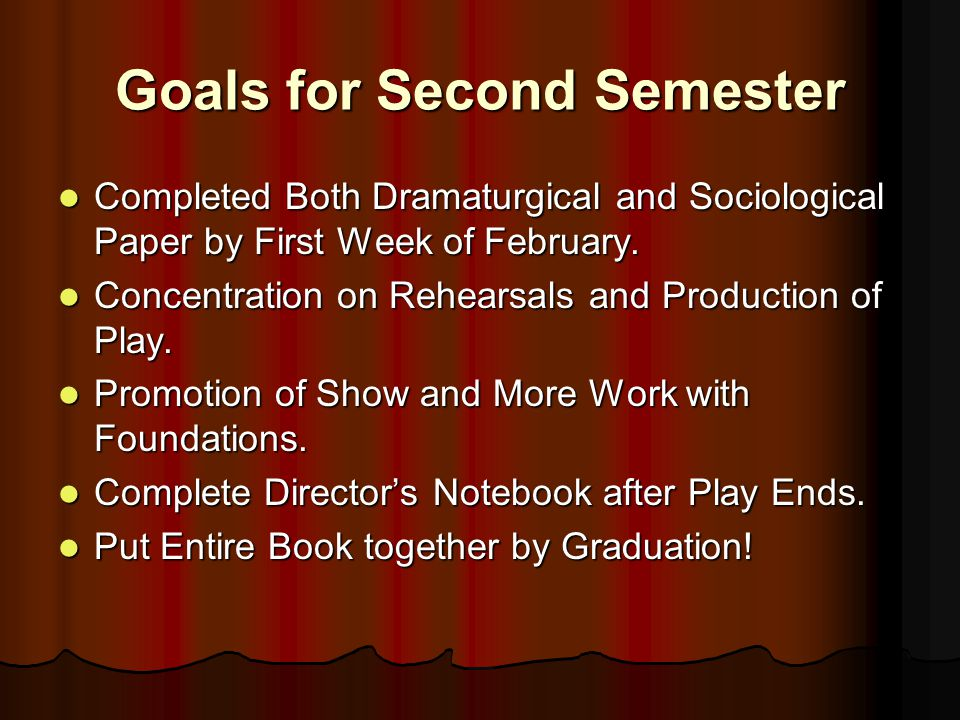 Goals for Second Semester Completed Both Dramaturgical and Sociological Paper by First Week of February.