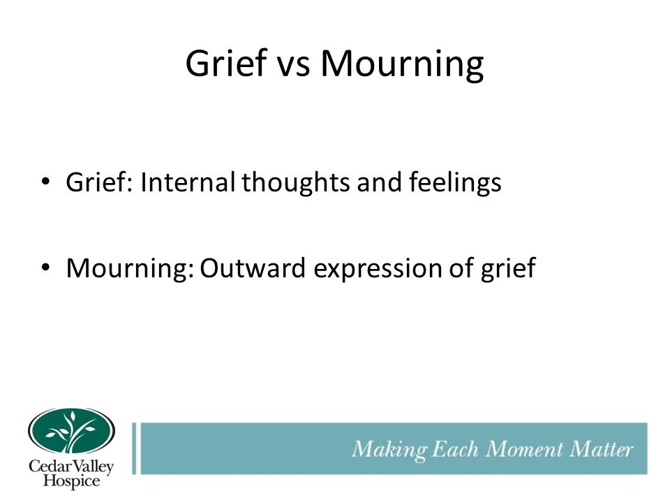 Grief vs Mourning Grief: Internal thoughts and feelings Mourning: Outward expression of grief