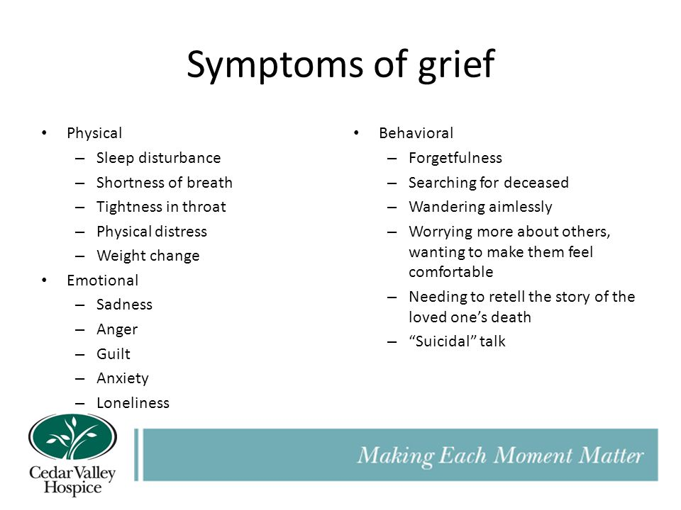Symptoms of grief Physical – Sleep disturbance – Shortness of breath – Tightness in throat – Physical distress – Weight change Emotional – Sadness – Anger – Guilt – Anxiety – Loneliness Behavioral – Forgetfulness – Searching for deceased – Wandering aimlessly – Worrying more about others, wanting to make them feel comfortable – Needing to retell the story of the loved one's death – Suicidal talk