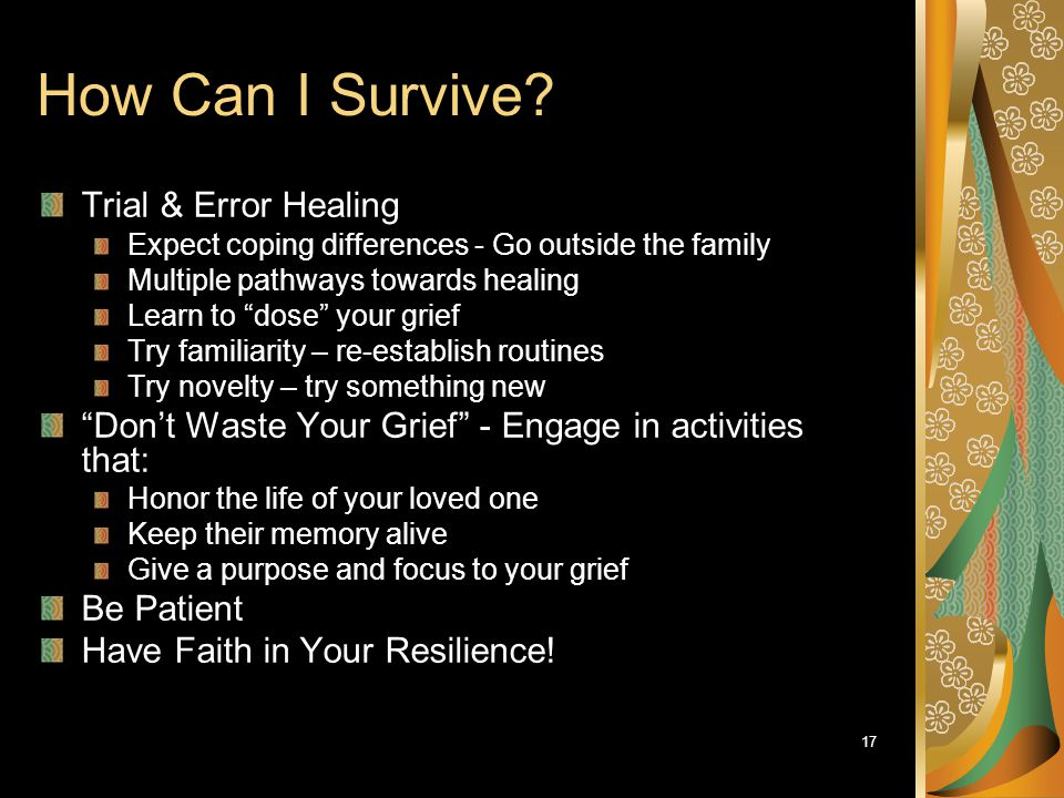 "17 How Can I Survive? Trial & Error Healing Expect coping differences - Go outside the family Multiple pathways towards healing Learn to ""dose"" your g"