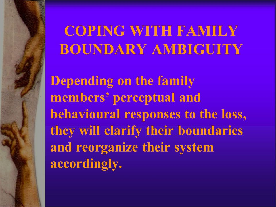 COPING WITH FAMILY BOUNDARY AMBIGUITY Depending on the family members' perceptual and behavioural responses to the loss, they will clarify their boundaries and reorganize their system accordingly.