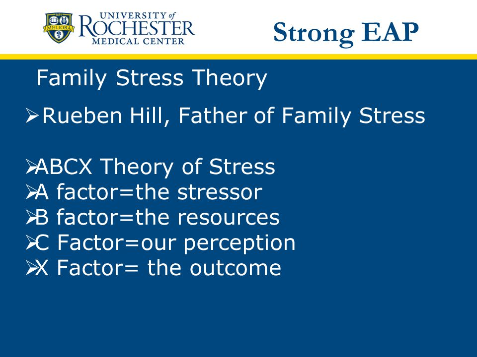 Family Stress Theory  Rueben Hill, Father of Family Stress  ABCX Theory of Stress  A factor=the stressor  B factor=the resources  C Factor=our perception  X Factor= the outcome Strong EAP