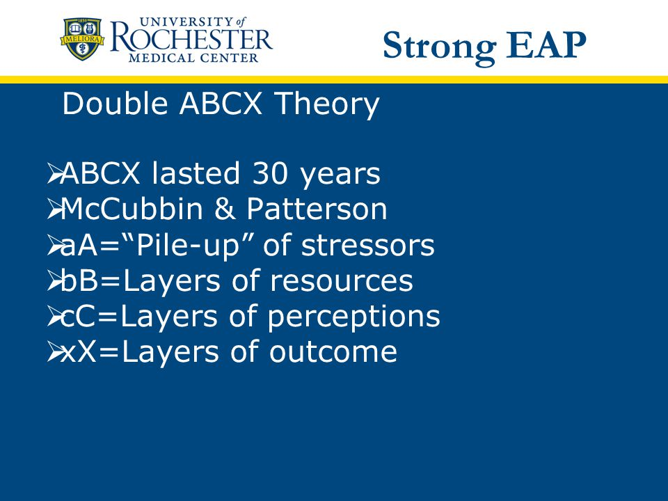 Double ABCX Theory  ABCX lasted 30 years  McCubbin & Patterson  aA= Pile-up of stressors  bB=Layers of resources  cC=Layers of perceptions  xX=Layers of outcome Strong EAP