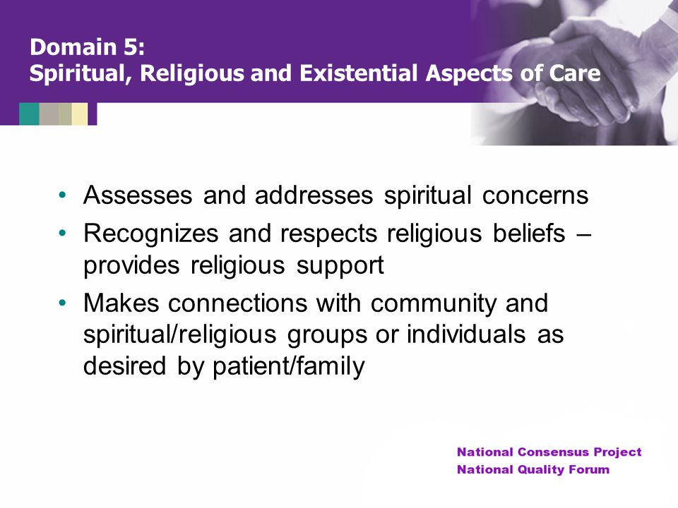 Domain 5: Spiritual, Religious and Existential Aspects of Care Assesses and addresses spiritual concerns Recognizes and respects religious beliefs – p