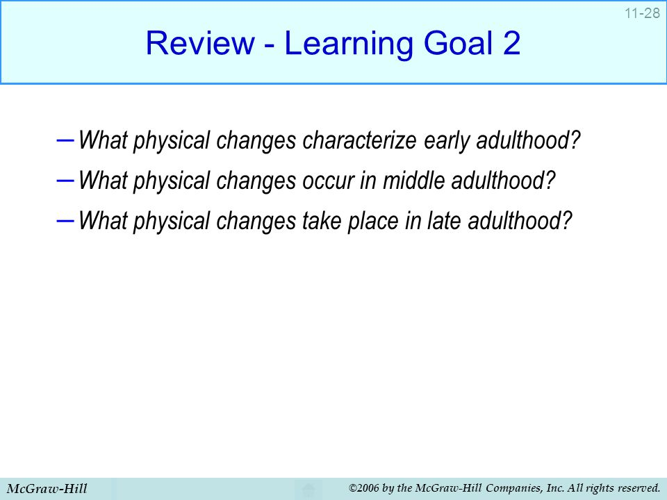 McGraw-Hill ©2006 by the McGraw-Hill Companies, Inc. All rights reserved. 11-28 Review - Learning Goal 2 – What physical changes characterize early ad