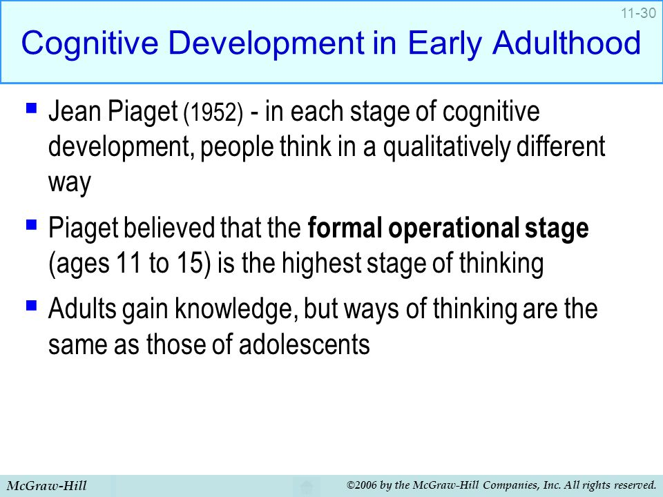 McGraw-Hill ©2006 by the McGraw-Hill Companies, Inc. All rights reserved. 11-30 Cognitive Development in Early Adulthood  Jean Piaget (1952) - in eac